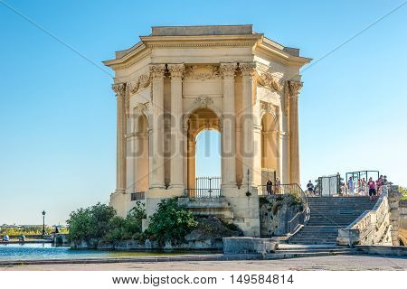 MONTPELLIER,FRANCE - AUGUST 26,2016 - Water Tower of Peyrou garden in Montpellier. Montpellier is the capital of the Herault department and is the 8th largest city of France.