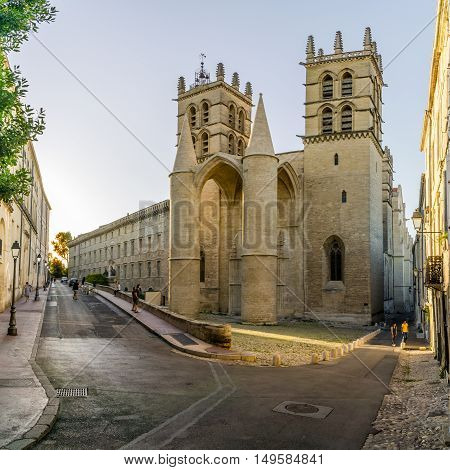 MONTPELLIER,FRANCE - AUGUST 26,2016 - Saint Pierre cathedral in Montpellier.The building was elevated to the status of cathedral in 1536.