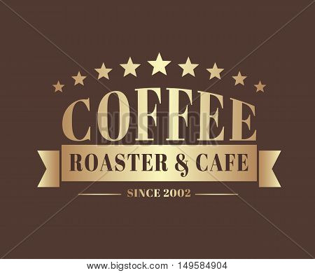 Gold Coffee Logo With A Ribbon For A Cafe Or Shop