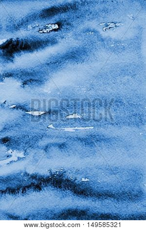 Abstract Blue Watercolor Background On Paper Texture