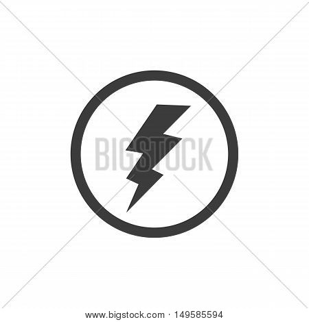 Lightning In A Circle Icon. Lightning In A Circle Vector Isolated On White Background. Flat Vector I