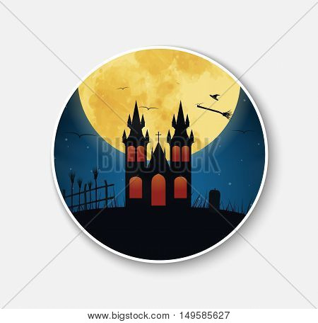 Sticker (icon) For Halloween Night Scenery