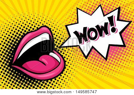 Sexy Open Female Mouth Screaming And Wow Speech Bubble. Vector Bright Background In Comic Retro Pop