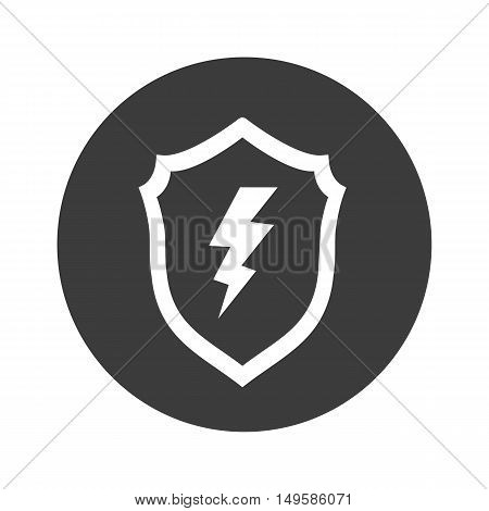 Lightning Shield In The Circle Icon. Lightning Shield In The Circle Vector Isolated On White Backgro