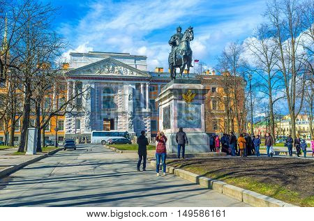 SAINT PETERSBURG RUSSIA - APRIL 25 2015: The monument to Peter the Great erected at St Michael's (Engineers) Castle by his grandson - Paul I on April 25 in Saint Petersburg.