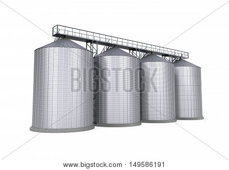 Agricultural Silo isolated on white background. 3D render