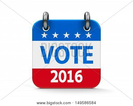Vote election 2016 calendar icon as american flag - represents the Election Day 2016 in USA three-dimensional rendering, 3D illustration