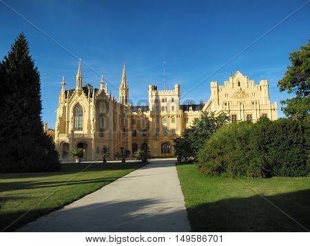 Lednice Czech Republic - September 29 2011: Beautiful Castle Lednice with Garden on September South Moravia