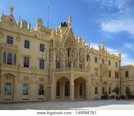 Lednice Czech Republic - September 29 2011: Famous Touristic Destination Lednice Palace in South Moravia