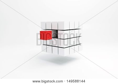 3d illustration of a cubic shape isolated on white background