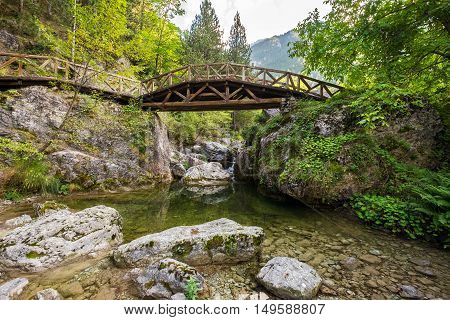 Wooden bridge over a river in the mountains of Olympus. Prionia Greece
