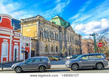 The traffic jam next to the building of Stieglitz Museum of Decorative and Applied Arts one of the notable city landmarks St Petersburg Russia.