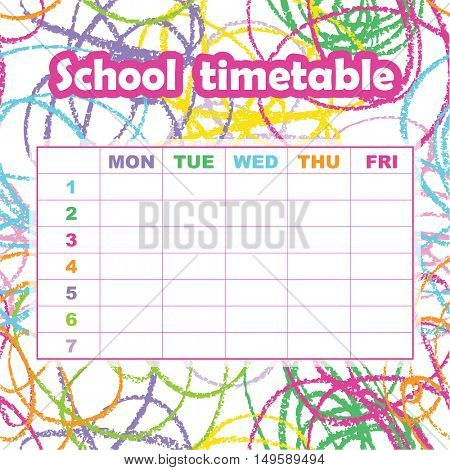 School timetable template for students and pupils. Abstract scribble background. Colorful design element. Print your timetable.