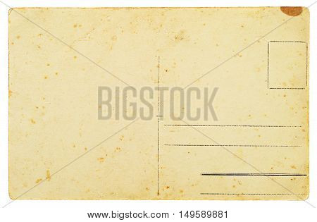 Reverse side of an old postal card isolated on white