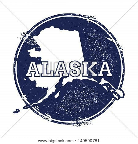 Alaska Vector Map. Grunge Rubber Stamp With The Name And Map Of Alaska, Vector Illustration. Can Be