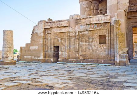 The walls of the ancient Kom Ombo Temple covered with preserved reliefs depicting Egyptian Gods Egypt.