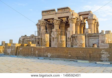 The ancient Kom Ombo Temple stands at the bank of Nile River and is the important point of Nile Cruise excursions Upper Egypt.