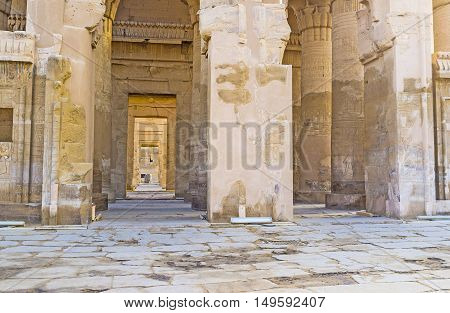 The double entrance of Kom Ombo Temple one of the most unusual ancient landmarks of Egypt.