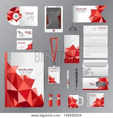White identity template with red origami elements. Vector company style for brandbook guideline and Pens mugs CDs books business cards letterhead flag Card Portfolio employees Tablet