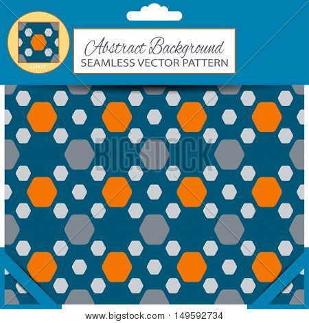 Blue retail package of vector abstract seamless pattern with orange and dark gray hexagon shapes on the dark blue background with pattern unit in the top.