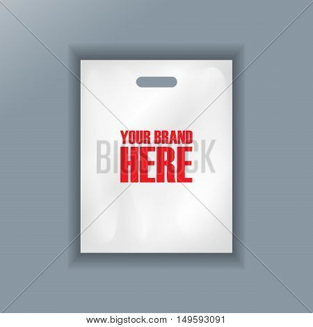 Digital vector cellophane bag plastic mockup, hand held, ready for your logo and design, flat style