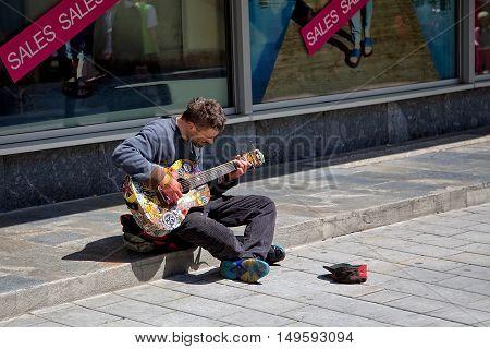 Bratislava, Slovakia - May 29: Musician on the streets of Bratislava  on  May 29, 2015 in Bratislava, in Slovakia