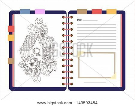 Flat design opened notepad with bookmarks and isolated on white background whit place for text in top view. Sketchbook, diary mockup. Vector illustration.