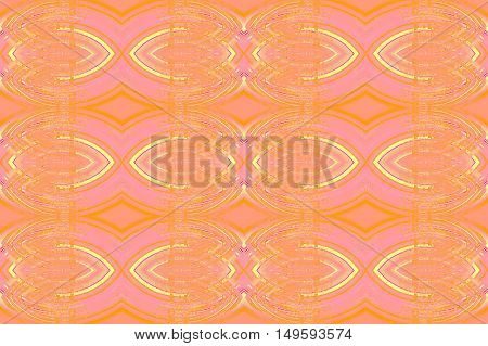 Abstract geometric seamless background. Regular ellipses ornaments overlaying in yellow, orange, pink and violet shades blurred.