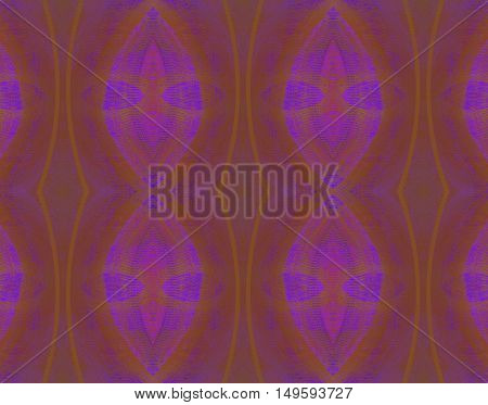 Abstract geometric seamless background. Regular oval ornaments in purple and violet shades with dark brown and ocher elements.