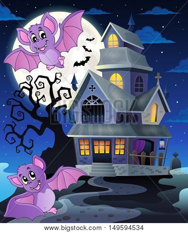 Bats near haunted house theme 1 - eps10 vector illustration.