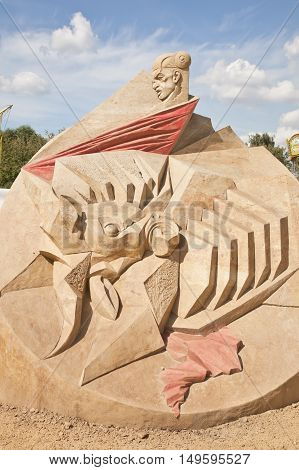 MOSCOW RUSSIA - August 18.2013: Exhibition of sculptures made of sand in Kolomenskoye city park. Sculpture On an arena