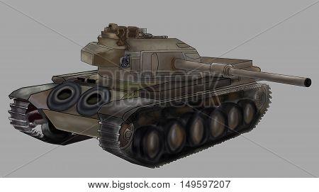 Tank vector illustration image isolated khaki machine
