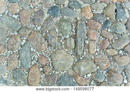 Part of cobblestone road close up view