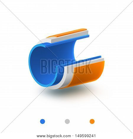 pipe 3 layers vector illustration structure object isolated on white