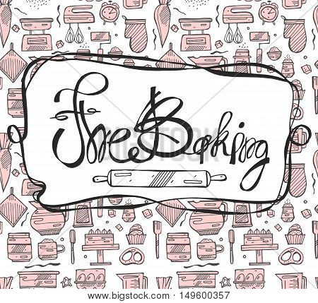 Bakery logo template. Hand drawn rolling pin and baking for your design in vector. Sketched illustration.The Baking calligraphy and lettering.