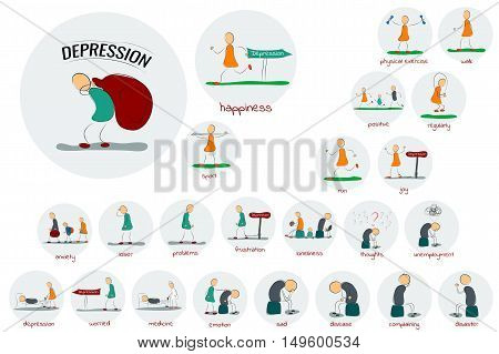 Vector drawing illustration of round depression icons set. Man woman and family cope with stress