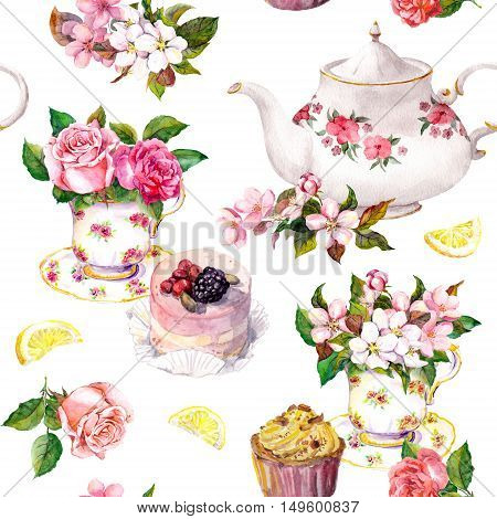Teatime pattern with flowers in teacup, cake and teapot. Water color. Seamless background