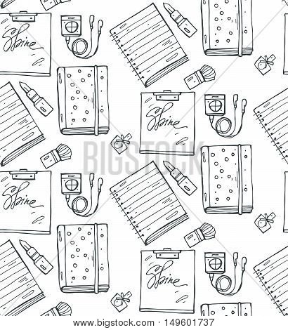 White seamless pattern with notebookslipstick nail polish diary and player.Hand drawn vector girls stuff pattern in black and white.Stationery illustration.