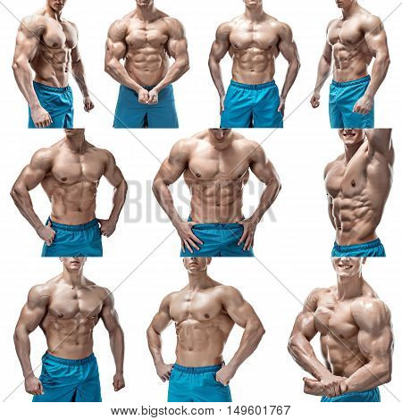 Strong Athletic Man showing muscular body and sixpack abs isolated on white background. collage of photo