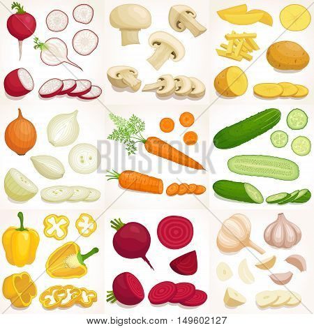 Vegetable set. Vector illustration. Whole sliced and chopped various vegetables