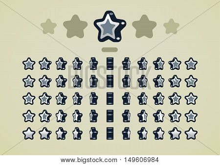 Animated rotating silver stars for creating video game