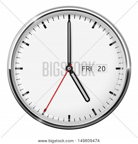 Clock. Five o'clock. Vector illustration isolated on white background