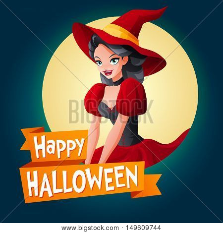 Halloween card. Beautiful brunette woman in dark red witch Halloween costume. Cartoon style vector illustration on dark background with text.