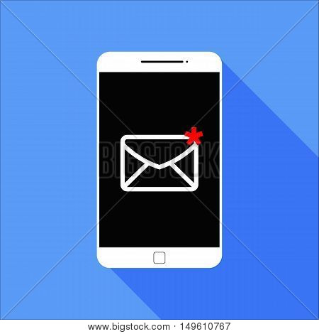 Flat New Message Smart Phone Icon with Long Shadow