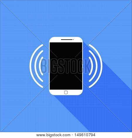 Flat Vibrate or Ringing Smart Phone Icon with Long Shadow