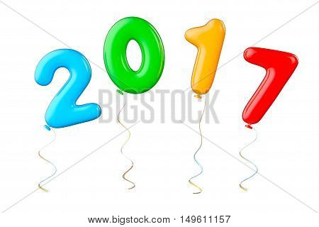 Multicolour Balloons as 2017 New Year Sign on a white background. 3d Rendering