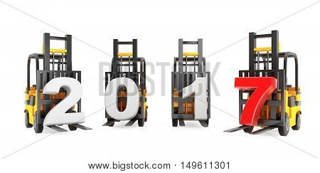 Forklift Trucks with 2017 New Year Sign on a white background. 3d Rendering