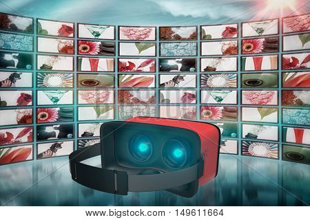 Digital image of red virtual reality simulator against screen collage showing lifestyle images