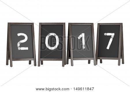 Wooden Menu Blackboard Outdoor Displays with 2017 Year Sign on a white background. 3d Rendering