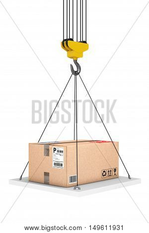 Crane Hook Lifts the Platform with Parcel on a white background. 3d Rendering